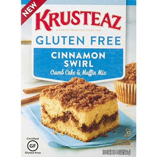 Krusteaz Gluten-Free Crumb Cake Mix, Cinnamon, 20 Ounce, Pack of 8