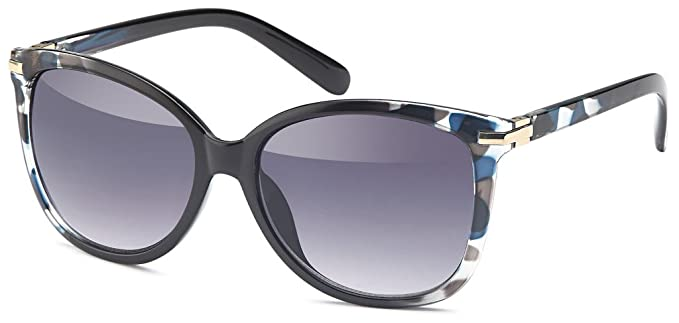 Feinzwirn Vintage Sonnenbrille im 60er Style mit trendigen bronzefarbenden Metallbügeln Panto - Retro Brille (Holzoptik) 5DWRwtGy