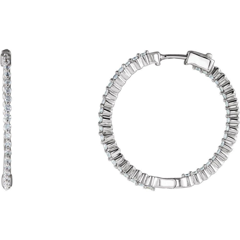 Sterling Silver 32mm Cubic Zirconia Hoop Earrings