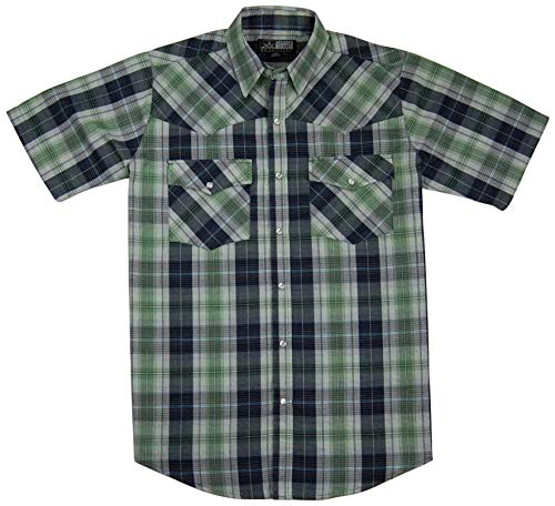 Canyon Guide Men's Short Sleeve Plaid Western Shirt | Easy Open Snap Front (Large, Green (587))