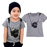 VESNIBA Summer Children Boy Kids Camera Short Sleeve Tops O Neck T Shirt Tees