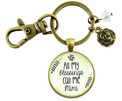 Mimi Keychain All My Blessings Call Me Mimi Grandmother Vintage Style Meaningful Pendant Key Ring ()