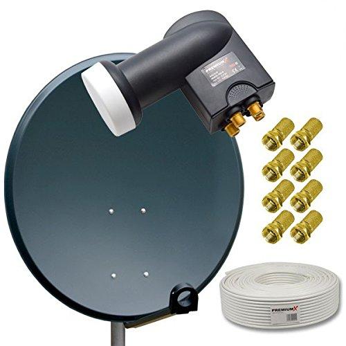 HD Digital Sat Anlage 80cm Stahl Sat Antenne Anthrazit + Quad LNB 4-Teilnehmer PremiumX + 50m Sat Koaxial Kabel 130dB 4-fach + 8 F-Stecker