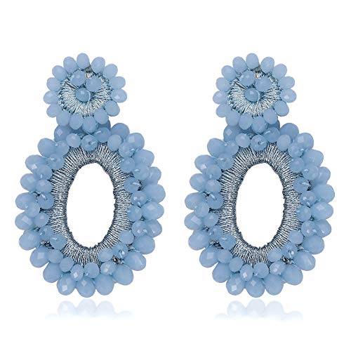 BEST LADY Statement Beaded Hoop Earrings - Fashion Bohemian Handmade Whimsical Drop Earrings for Women Jewelry, Idear Gifts for Mom, Sisters and Friends (Blue Crystal) ()