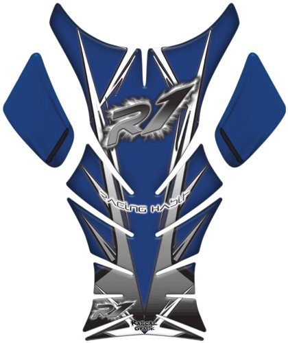 Rascal Grafik X-AK Tank Pad Blue Grey for Yamaha YZF-R1 YZFR1 2007-2008 ()