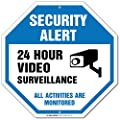 "Security Alert 24 Hour Video Surveillance All Activities Are Monitored Sign - 12""x12"" - Octagon .040 Rust Free Aluminum - Made in USA - UV protected and Weatherproof"