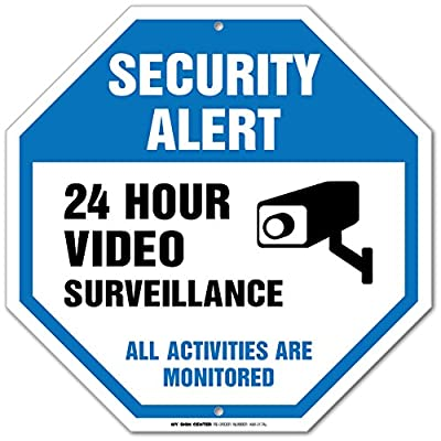 """Security Alert 24 Hour Video Surveillance All Activities Are Monitored Sign - 12""""x12"""" - Octagon .040 Rust Free Aluminum - Made in USA - UV protected and Weatherproof"""