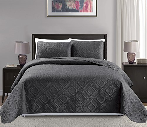"""Mk Collection King/California king over size 118""""x106"""" 3 pc Diamond Bedspread Bed-cover Embossed solid Dark Grey/Charcoal New"""