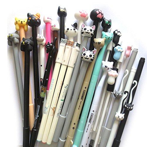 (DzdzCrafts 12-Packs Cats Rollerball Gel Pens Black Ink Pens 0.35mm 0.38mm 0.5mm Bulk for Kids Students )