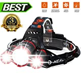 Super Bright Zoomable 4 Modes LED Head Torch, Rechargeable Waterproof Focus Headlight, 3 CREE XM-L T6 LED Headlamp Flashlight Torch for Camping Hunting Hiking Running Walking Cycling Outdoors Light