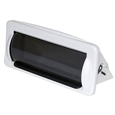 Water Resistant Marine Stereo Cover - Smoke Colored Heavy Duty Boat Radio Protector Shield with Flip-up Door & Spring Loaded Release - Mounting Gasket Included - Pyle PLMRCW2,White: Electronics