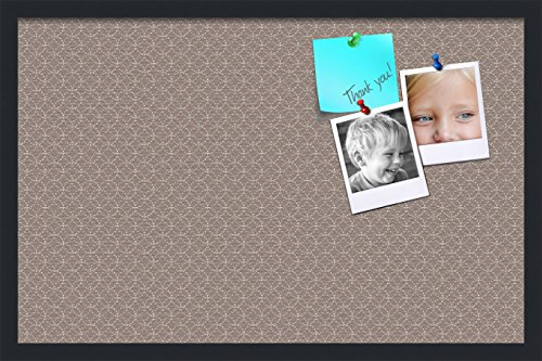 PinPix pin Cork Bulletin Board Made from Canvas, Seemless Pattern 30 x 20 Inches (Completed Size) and Framed in Satin Black -