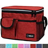 OPUX Premium Insulated Lunch Bag for Women, Men, Kids | Lunch Box with Shoulder Strap, Pocket, Soft Leakproof Liner | Medium Lunch Cooler for School, Work | Fits 6 Cans (Heather Red)