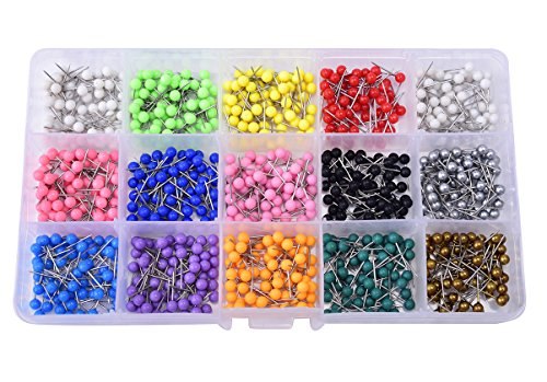 JoyFamily Map Tacks Push Pins Plastic Round Head with Steel Point, 1/8 Inch, 900 Pieces ()