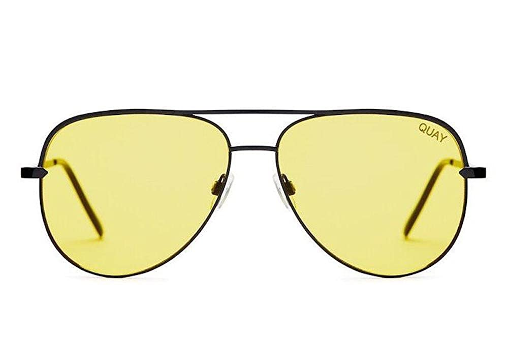 Amazon.com: Quay Sahara negro y amarillo anteojos de sol ...