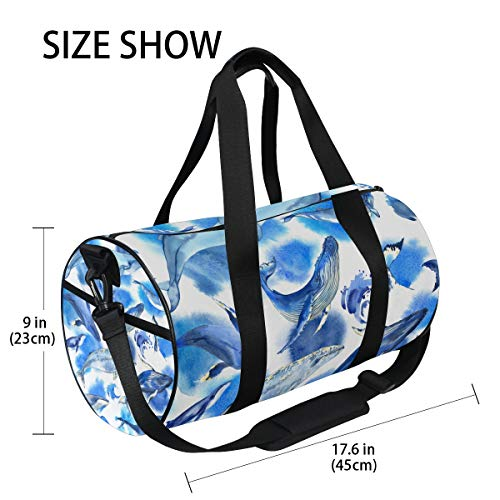 Sea Whale Yoga Sports Gym Duffle Bags Tote Sling Travel Bag Patterned Canvas with Pocket and Zipper For Men Women Bag by EVERUI (Image #3)