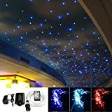 16W Fiber Optic Light Star Ceiling Kit, 28 Keys Sound Sensor Music Mode RGBW Remote + Mix 430pcs Fibre Optical Cables (0.75mm+1mm+1.5mm) 9.8ft/3m Long