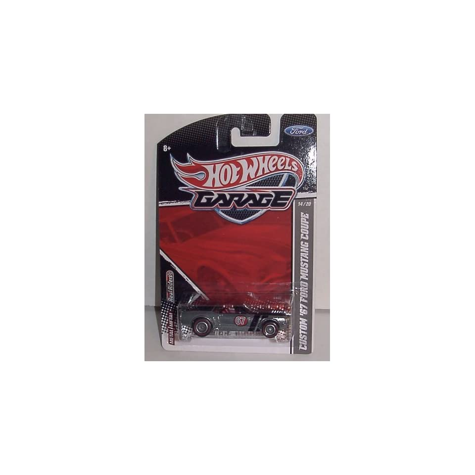 2011 HOT WHEELS GARAGE SERIES 164 SCALE CUSTOM 67 FORD MUSTANG COUPE #14/20 METAL BODY & CHASSIS WITH REAL RIDER/RUBBER RED LINE TIRES