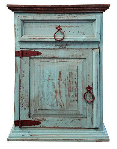 Handscrape Rustic Western Country Nightstand End Table Already Assembled (Left Hinged, Aqua)