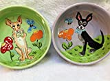 Chihuahua 8'' and 6'' Pet Bowls for Food and Water. Personalized at no Charge. Signed by Artist, Debby Carman.