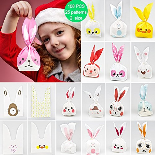 Kids party bags,50pcs 2 size 25 types of patterns for kids birthday Christmas goodies cute rabbit plasticbags USE for Gift,candies,small toys,chocolates,ornament,hairpin,food,cookie,dessert (Sweet Treats For Weddings)