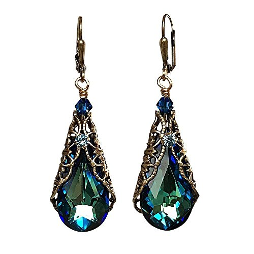 Teardrop Crystal Vintage Inspired Earrings adorned with Crystal from Swarovski (Bermuda - Swarovski Earrings Crystal Filigree