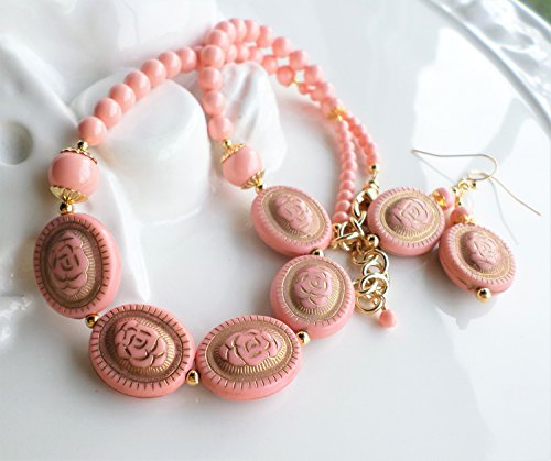 Pink Coral Lucite Bead and Swarovski Pearl Necklace Earrings (Coral Necklace Jewelry)