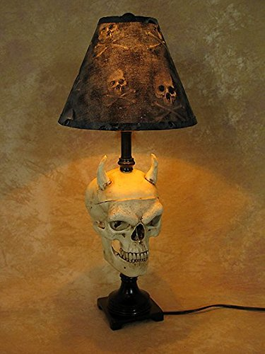 Desk Lamp with Evil Harvey Skull and Bone Shade