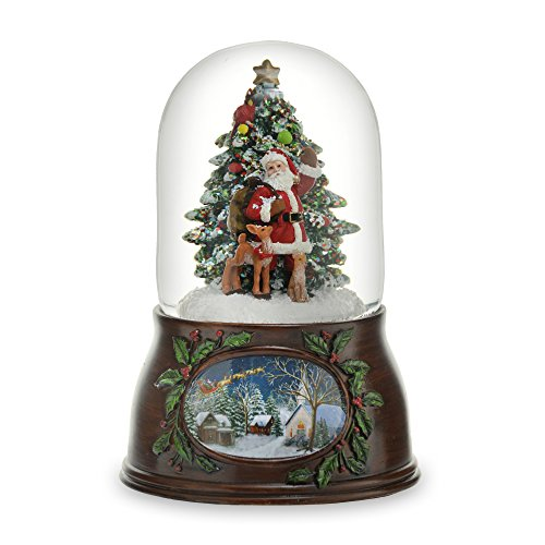 THE SAN FRANCISCO MUSIC BOX COMPANY Musical Santa W/Tree Snow Globe (Snow Santa)