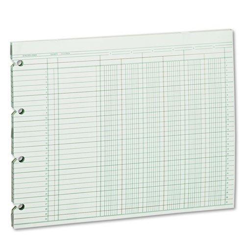 Wilson Jones - Accounting Sheets, Six Column, 9-1/4 x 11-7/8, 100 Loose Sheets/Pack, Green G10-6 (DMi PK