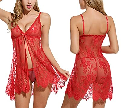 Sweetnight Women's Sexy Lace Floral Babydoll Lingerie Sleepwear with G-string Set.