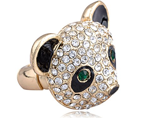 [Alilang Adjustable Golden Tone Clear Crystal Colored Rhinestones Black Panda Head Ring] (Panda Costume For Sale)