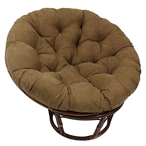 "Blazing Needles Solid Microsuede Papasan Chair Cushion, 48"" x 6"" x 48"", Camel"