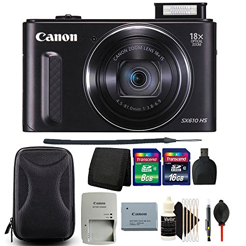 Canon PowerShot SX610 HS 20.2MP Wifi / NFC Enabled 18X Optical Zoom Point and Shoot Digital Camera + Bundle