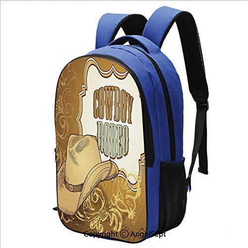 16.5 Inch Backpack Cowboy Rodeo Themed Framework Vintage Floral Ornaments and Hat Design Printed Children School Backpack Cool Bookbag,Light Caramel White ()