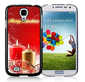 Samsung S4 Case,Christmas Red Golden Candles Black Silicone Phone Case Fit Samsung Galaxy S4 Case,Galaxy S4 I