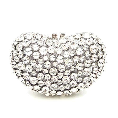 Miss Diamant Silver de Sac Color Pochette soirée en Silver Mariage en Pochette Cristal discothèques pour Joy Luxe de Dames Forme Coeur de YqrBYR7