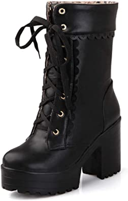 Womens Trendy Lace Up Lolita Ankle Boots Gothic Chunky Heels Cosplay Shoes Size