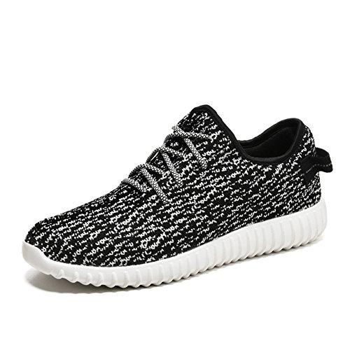 Para hombre zapatillas gimnasio Walking zapatillas Fitness deportes de ligero zapatillas de running blanco y negro