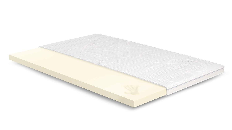 7cm Visco Topper 120x210 cm - Aloe Vera Bezug mit 3D-Mesh-Klimaband & Stegkante - 5cm Visco RG 50 - Matratzenauflage 120x210 für Ihr Bett