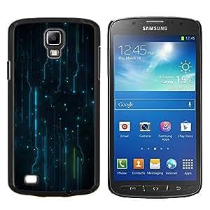 KLONGSHOP // Cubierta de piel con cierre a presión Shell trasero duro de goma Protección Caso - Patrón Electrónica Electro - Samsung Galaxy S4 Active i9295 //
