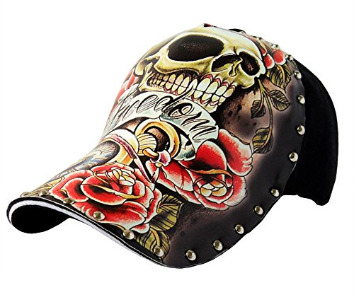 (TOKYO-T Skull Baseball Hats For Men Punk Cap Hip Hop Hats (Skull Rose))