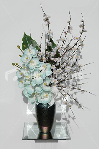 Amazon Artificial Duck Egg Blue Orchid Cherry Blossom Vase