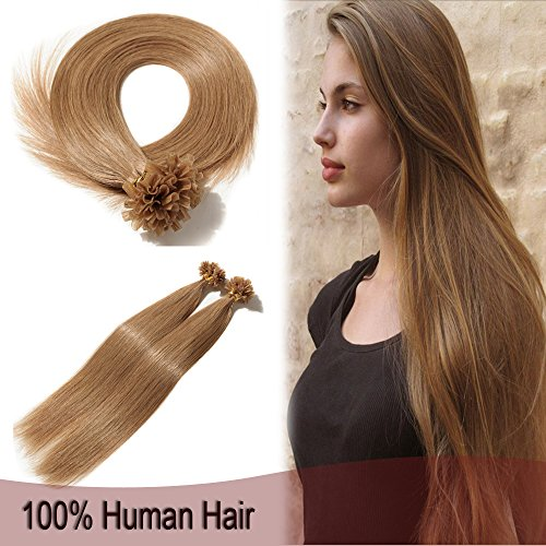 100 Strands Glue Pre Bonded Fusion Human Remy Hair Extensions Keratin U Tip Nail Hair 16 50g Straight Silky #12 Golden Brown