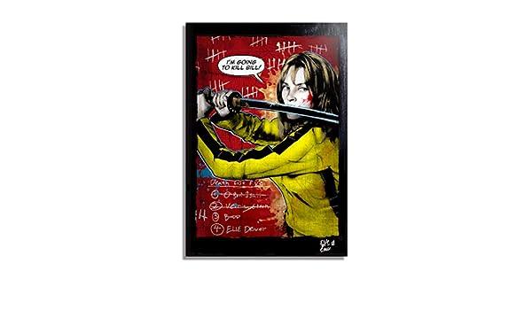 Amazon.com: Beatrix Kiddo, The Bride from Kill Bill Movie (Quentin Tarantino) - Pop-Art Original Framed Fine Art Painting, Image on Canvas, Artwork, ...