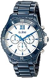a_line Women's AL-20042-NBWSR Ceramic Chronograph White Dial Dark Blue Watch