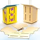 Wooden Butterfly Houses for Children to Make Decorate and Personalise - Creative Craft Set for Kids (Pack of 2)