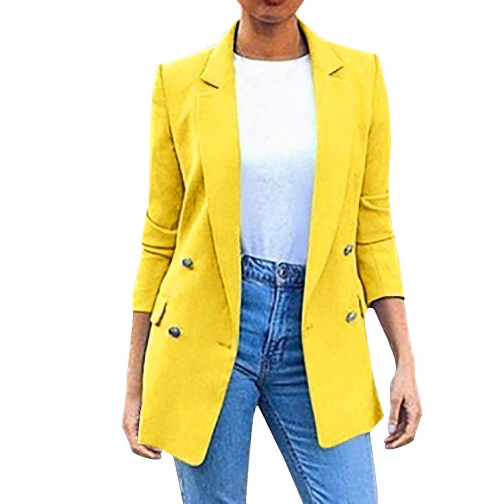 Coupondeal Womens Ladies Solid Turn Down Collar Jacket Long Sleeve Coat Parka Outerwear(Yellow,XXL) by Coupondeal