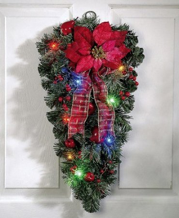 Celebrate Your Christmas With Multicolor Swag Faux Evergreens,Berries, Apple Poinsettias And Ribbon Spirit Christmas Decoration