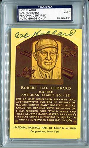 "Robert""Cal"" Hubbard Signed HOF Plaque Postcard. PSA NM 7. Rare d.1977"